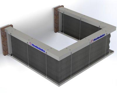 Автоматическая противопожарная штора «Гармошка» П образная разомкнутая форма в разложенном состоянии